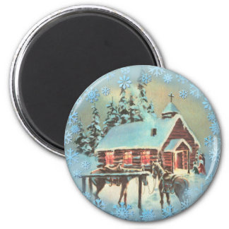 CHURCH & SNOWFLAKES by SHARON SHARPE 2 Inch Round Magnet