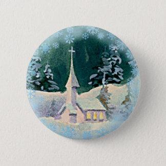 CHURCH & SNOWFLAKES by  SHARON SHARPE Pinback Button