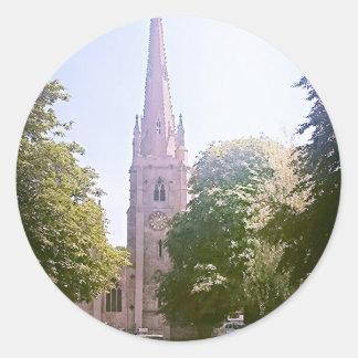 Church spire classic round sticker