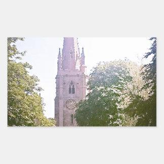 Church spire rectangular sticker