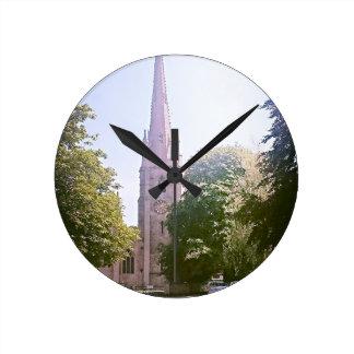 Church spire round clock