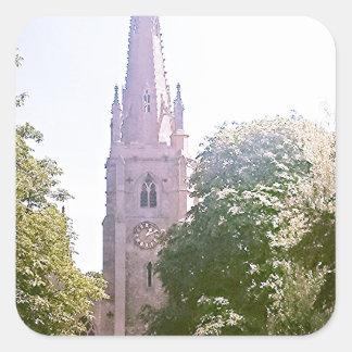 Church spire square sticker