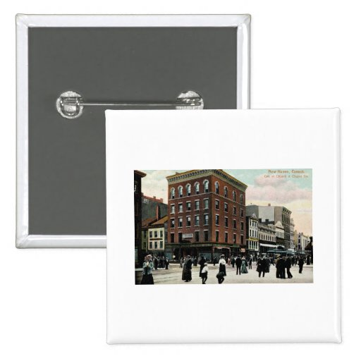 Church St. New Haven 1908 Vintage 2 Inch Square Button
