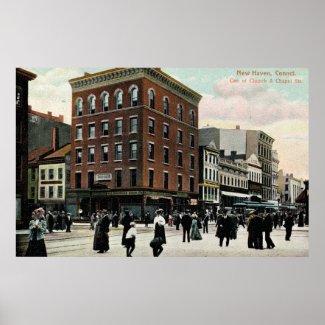 Church St. New Haven 1908 Vintage print
