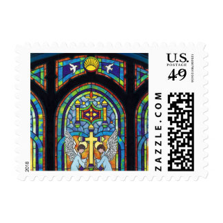 Church Stain Glass Window Cross Angels Postage
