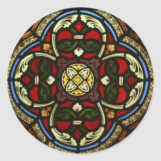 Church Stained Glass Classic Round Sticker