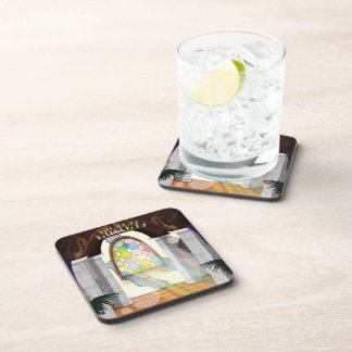 Church Stained Glass Window Beverage Coaster