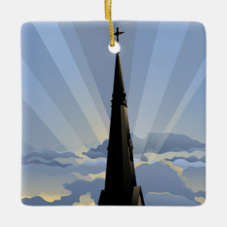 Church Steeple at Dawn Ceramic Ornament