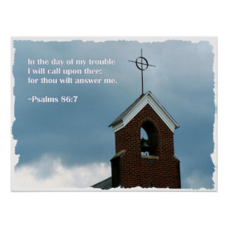 Church Steeple in a Storm Psalms Poster