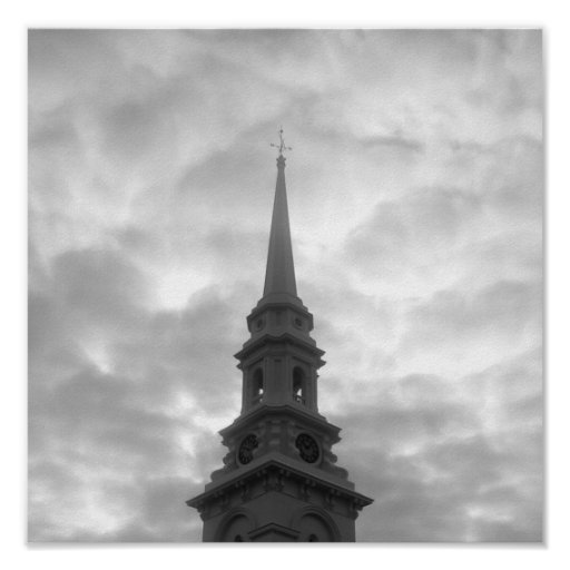 Church Steeple in Downtown Portsmouth Poster