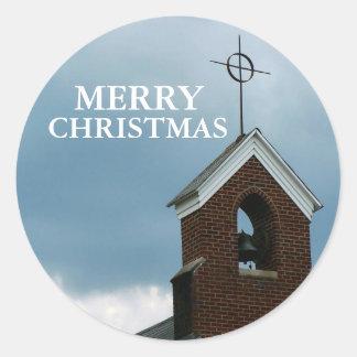 Church Steeple Merry Christmas Sticker