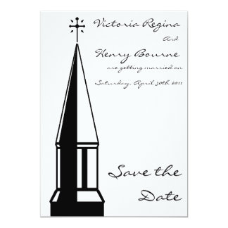 "Church Steeple Save the Date Invitation 5"" X 7"" Invitation Card"
