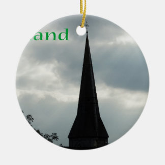 Church Steeple with Ireland Ceramic Ornament