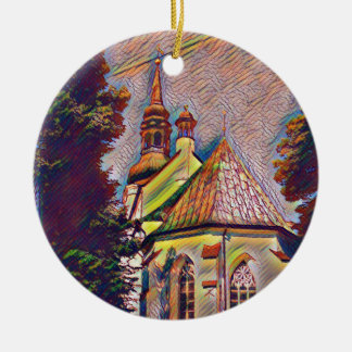 Church Steeples Artistic Photo Manipulation Ceramic Ornament