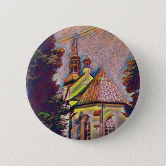 Church Steeples Artistic Photo Manipulation Pinback Button