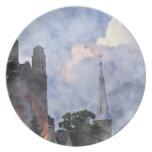 Church & Storm Clouds Watercolour Art  Plate