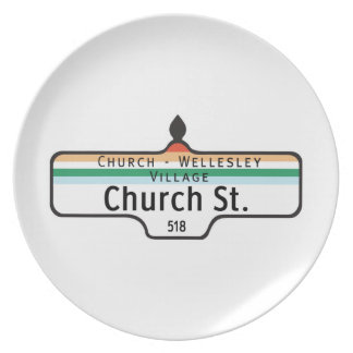 Church Street Toronto Street Sign Party Plates
