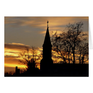 Church sunrise sillhouette card