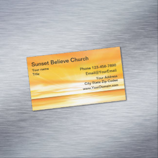 Church Sunset Business Card Magnets