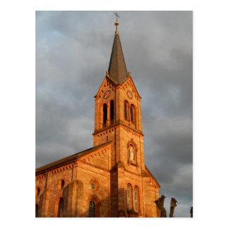Church sunset postcard