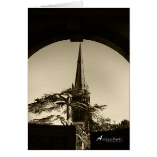 Church throught the gate in B&W.Birthday card