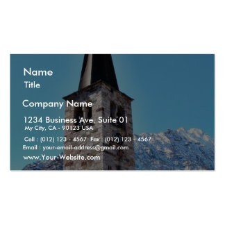 Church Tower In A Village In The Alp Mountain Business Card Templates