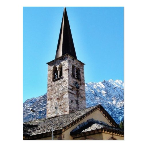 Church Tower In A Village In The Alp Mountain Postcard