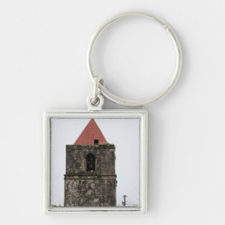 Church tower of Guiuan Silver-Colored Square Keychain