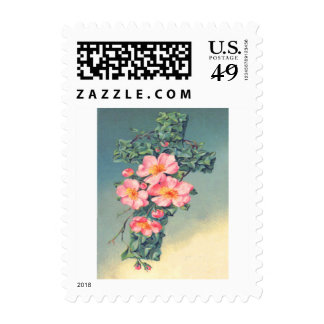 Church Vines Pink Flowers Christian Leaves Postage