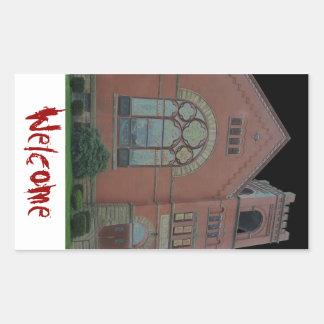 Church Welcome Rectangular Sticker