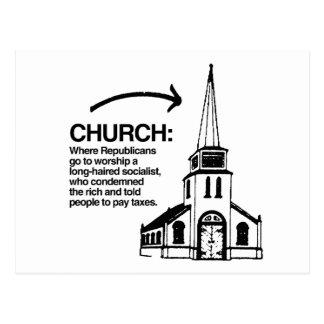 CHURCH - WHERE REPUBLICANS GO TO WORSHIP POSTCARD