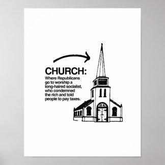 CHURCH - WHERE REPUBLICANS GO TO WORSHIP POSTER