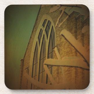 Church Window on a Snowy Night coasters