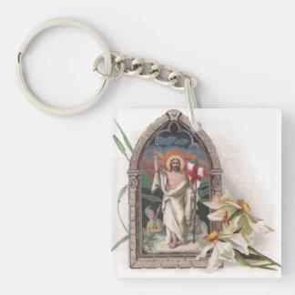 Church Window Resurrection of Christ Single-Sided Square Acrylic Keychain
