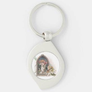 Church Window Resurrection of Christ Silver-Colored Swirl Metal Keychain