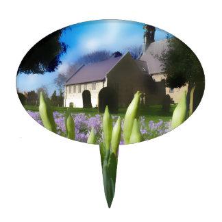 Church with artistic blur cake pick