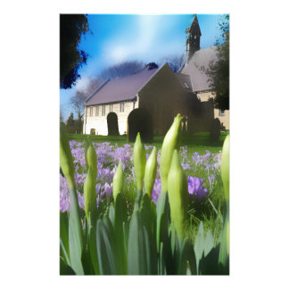Church with artistic blur customized stationery