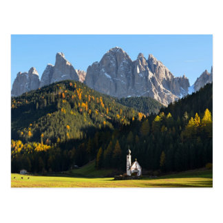 Church with Dolomites mountains Postcard