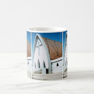 Church with Holy Cross Stained Glass Classic White Coffee Mug