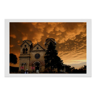 Church with Ominous Clouds Poster