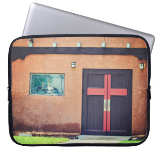 """Church with Red Cross 15"""" Notebook Cover Computer Sleeve"""