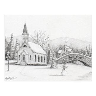 Church with Snowman Postcard