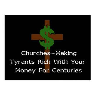 Churches Heart Money Postcard