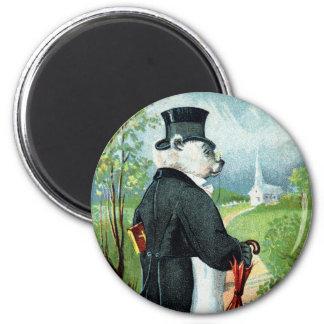 Churchgoing - Letter G - Vintage Teddy Bear 2 Inch Round Magnet