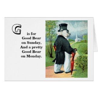 Churchgoing - Letter G - Vintage Teddy Bear Card