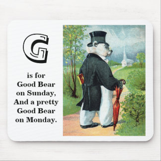 Churchgoing - Letter G - Vintage Teddy Bear Mouse Pad