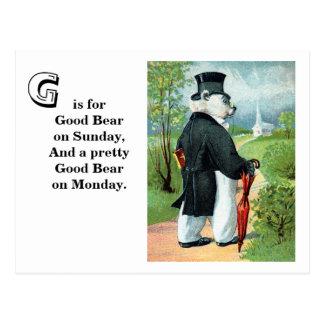 Churchgoing - Letter G - Vintage Teddy Bear Postcard