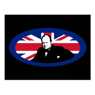 Churchill and Round Union Jack Postcard