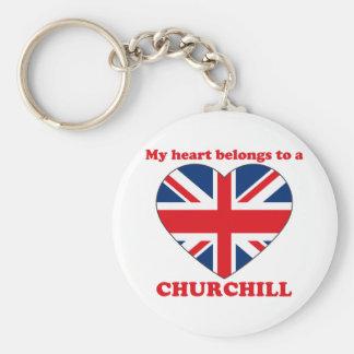 Churchill Basic Round Button Keychain