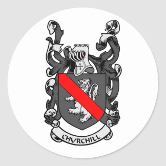 CHURCHILL Coat of Arms Classic Round Sticker